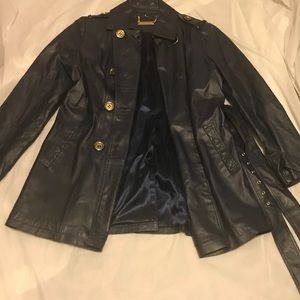 IMAN Navy Leather Coat